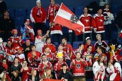 Austria Ice hockey fans. In Helsinki, Hartwall arena Royalty Free Stock Photography