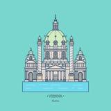 Austria illustration,Karlskirche. Travel Vienna icon. vector illustration