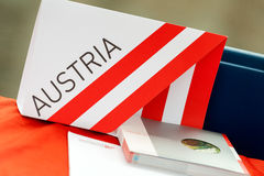 Austria information material on a desk Stock Image