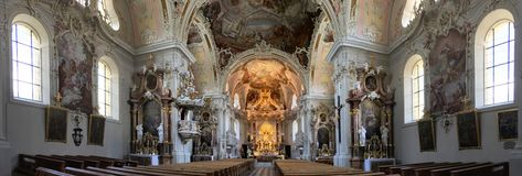 The interior of the beautiful Basilika Wilten royalty free stock image