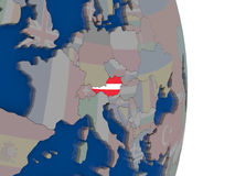 Austria with its flag. Map of Austria with its flag on globe. 3D illustration Stock Photography