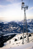Austria kitzbuhel. Landscape of Alps with cable-way Stock Photos