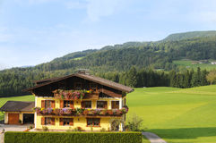 Austria. Landscape and house  in alps, Austria Royalty Free Stock Photo