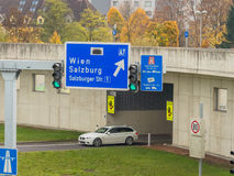 Austria, linz, city highway. Tunnel for noise calming the binder michel on motorway a7 royalty free stock photos