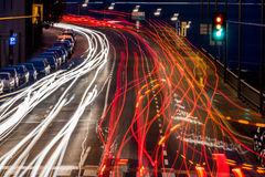 Austria, linz. lights of moving cars. Traffic in city at night, symbol of traffic, congestion, air pollution stock images