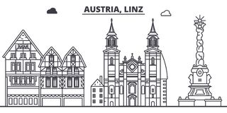 Austria, Linz linii linii horyzontu wektoru ilustracja Austria, Linz liniowy pejzaż miejski z sławnymi punktami zwrotnymi, miasto Zdjęcia Royalty Free