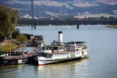 Austria, linz. ships on the danube Stock Images