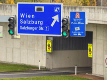 Austria, linz, urban motorway. Austria, linz, highway. tunnel for noise calming the binder michel on the a7 motorway royalty free stock photography