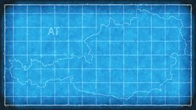Austria map blue print artwork illustration silhouette Royalty Free Stock Photography