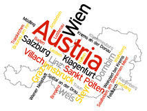 Austria map and cities. Map of Austria and text design with major cities stock illustration