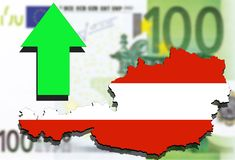 Austria map on Euro money background and green arrow up Royalty Free Stock Photos