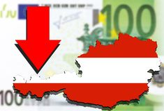 Austria map on Euro money background and red arrow down Stock Images