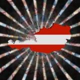 Austria map flag on currency burst illustration stock images