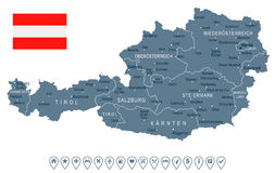 Austria - map and flag - illustration Stock Images