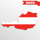 Austria map with flag inside and ribbon. Austria  map with flag inside and ribbon Stock Image