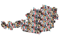 Austria map multicultural group of people integration immigration diversity. Isolated royalty free stock images