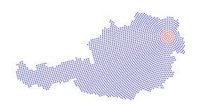 Austria map radial dot pattern Stock Photos