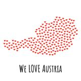 Austria Map with red hearts - symbol of love. abstract background. Austria Map with red hearts- symbol of love. abstract background with text We Love Austria Royalty Free Stock Photo