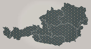 Austria map with stars and ornaments including borders. Illustration Stock Image
