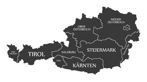 Austria Map with states and labelled black Stock Photography