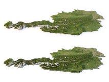 Austria Map - Topographic. Two topographic Austrian maps isolated on white Stock Photos