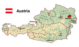 Austria Map. Topographic map of Austria in Europe with cities, federal states, borders and flag Stock Photos