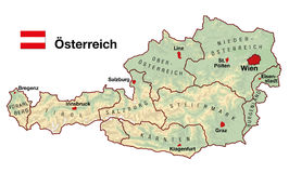Austria Map. Topographic map of Austria in Europe with cities, federal states, borders and flag. German labeling Stock Photography