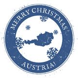 Austria map. Vintage Merry Christmas Austria. Austria map. Vintage Merry Christmas Austria Stamp. Stylised rubber stamp with county map and Merry Christmas text Royalty Free Stock Images
