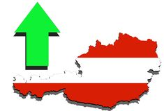 Austria map on white background and green arrow up Stock Photography
