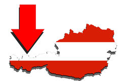 Austria map on white background and red arrow down Royalty Free Stock Image