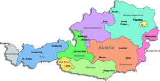 austria mapa Fotografia Royalty Free