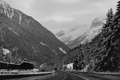 Austria, A10 motorway from Salzburg to Villach in winter with sn Royalty Free Stock Photography