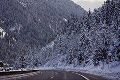 Austria, A10 motorway from Salzburg to Villach in winter with sn Stock Photos