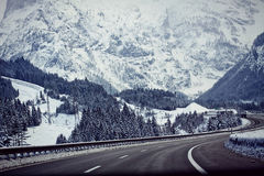 Austria, A10 motorway from Salzburg to Villach in winter with sn Stock Photo