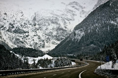 Austria, A10 motorway from Salzburg to Villach in winter with sn Royalty Free Stock Photos