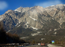 Austria, A10 motorway from Villach to Salzburg in winter Royalty Free Stock Photo