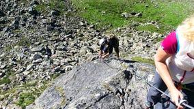 Austria. Mountain region `Stubai`. Training in rock climbing. stock photos