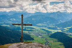 Austria mountains with cross Stock Image