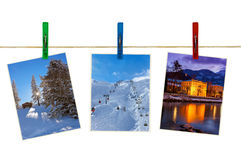 Austria mountains ski photography on clothespins Stock Image