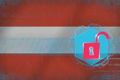 Austria network unprotected. Internet security concept. Stock Photo