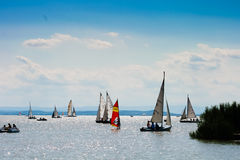 15 8 2009, Austria, Neusiedler ve, muchos botes pequeños en un lago Fotos de archivo