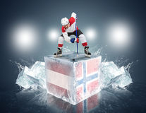 Austria - Norway game. Face-off player on the ice cube. Stock Images