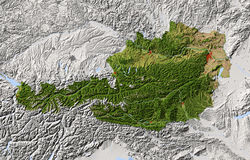 Austria, ocieniona reliefowa mapa ilustracji