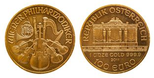 Austria 1 ounce gold coin 100 Euro royalty free stock images