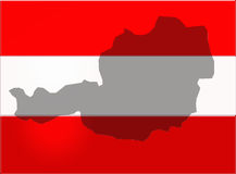 Austria outlined on the flag Royalty Free Stock Image