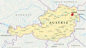 Austria Political Map. Political map of Austria with capital Vienna, with national borders, most important cities, rivers and lakes. Illustration with English Royalty Free Stock Images