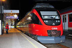 Austria by Rail - OBB. ÖBB-Austrian Railways - Train on the platform at the station Innsbruck Royalty Free Stock Image