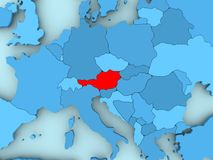 Map of Austria. Austria in red on blue political map. 3D illustration Royalty Free Stock Image