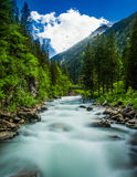 River Scenery Landscape. Beautiful River in Austria, Krimml Royalty Free Stock Image