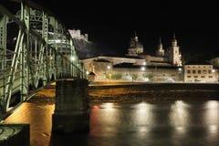 Austria. Salzburg (Saltsburg) at night. Austria, Salzburg (Saltsburg). Night view on the old town, castle and bridge across the river stock image